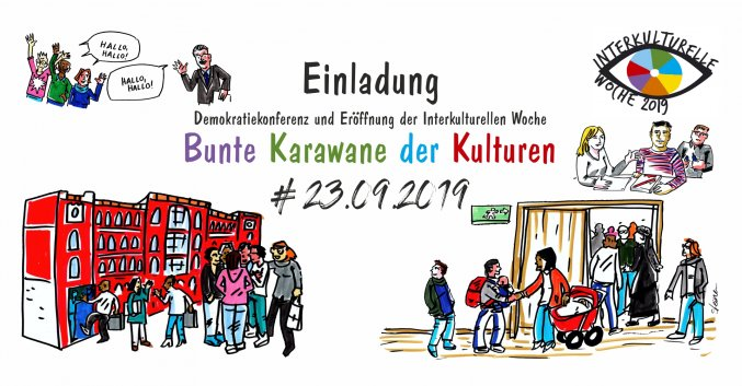 Demokratiekonferenz Flyer | Illustration: Elke R. Steiner - steinercomix.de